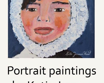 Art on Sale. Acrylic Girl Portrait Painting. Winter Hat & Coat Painting. Home Wall Art. Gift for Women.