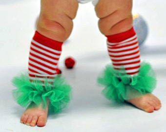 """Candycane Striped Girls Ruffle Tutu Leg Warmers - Perfect for photos - fits newborn up to 12m aprox 6"""" long"""