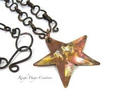 Rustic Copper Starfish Pendant, Boho Beach Jewelry, Primitive Hammered Metal, Optional Antique Copper Chain Necklace