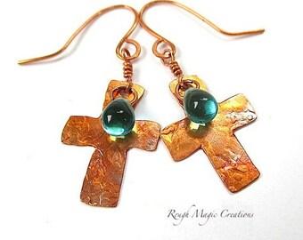 Cross Earrings, Copper Dangles, Teal Aqua Teardrops, Inspirational Gift for Her, Religious Statement Earrings, Christian Jewelry for Women