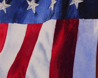 American Flag Painting Print, Patriotic, American Flag, Remembrance, September 11, 9 11, Giclee, Home Decor, Watercolor, 5 x 7, Stars, Flag