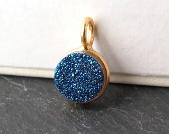 Gold Vermeil Blue Druzy Round Charm 12mm (CG8260)