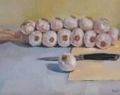 "Sale! Art oil painting still life ""Garlic Braid with Knife"" by Oregon artist Sarah Sedwick 9x12 in"