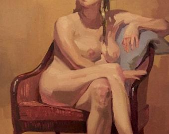 "Art painting portrait figure nude ""Yellow Becca"" 14x18 inch original oil by Oregon artist Sarah Sedwick"
