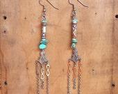 Southwestern Earrings // Peruvian Beads // Turquoise // Silver // Artisan Bohemian // Boho Jewelry // Dangle Earrings