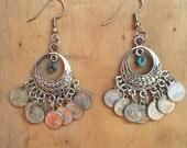Gypsy Earrings // Coin Earrings // Genuine Turquoise // Bohemian Jewelry // Chandelier Earrings // Silver Southwestern Jewelry // Boho