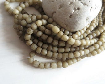 Small opaque gritty beige cream glass Beads organic matte rustic tube barrel seed beads Modern Indo-pacific - 3 to 6 mm/22 inches /5A4-6