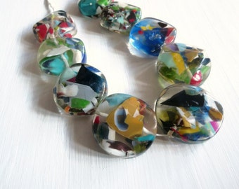 X large chunky coin Resin Beads,  clear Confetti Resin disc multicolored  speckled beads from indonesia  - 2 pcs  / 45  mm - 5A15-3