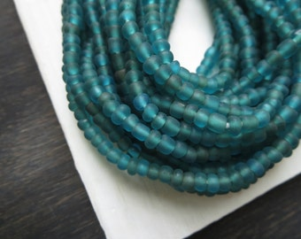 small matte seed beads, green teal glass beads, Irregular spacer beads, barrel tube, Modern Indo-pacific  2 to 4.5mm / 26 in strand,5Bb49-14