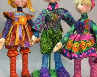 """PATTERN -""""Snippets"""" 11"""" Cloth Doll Pattern by Julie McCullough of Magic Threads"""