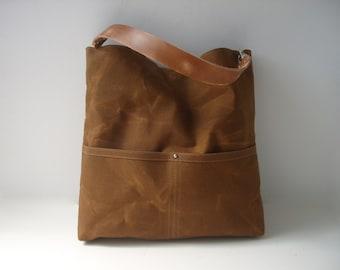 Canvas Tote Bag, Casual Handbag, Waxed Canvas Bucket Bag, Canvas Purse, Shoulder Bag