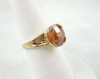 Vintage Chinese Ring Sterling With Gold Overlay CZ Topaz Size 10