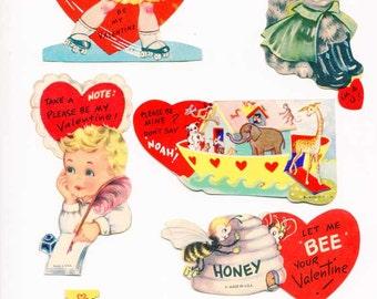 Lot of 6 Vintage 1950-60's Kid's Valentines with Children Activities, Old School Valentines, Vintage Supplies, Collector Cards, Scrapbooks