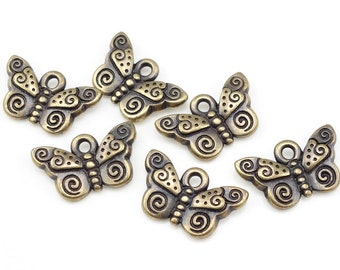 Antique Brass Charms Brass Butterfly Charms TierraCast Spiral Butterfly Summer Charms Insect Charms Bug Charms Bronze Charms  (P1096)