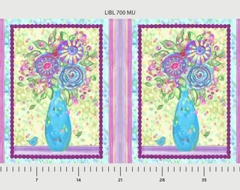 Flowers Love in Bloom Digital Print P and B Textiles Fabric Panel
