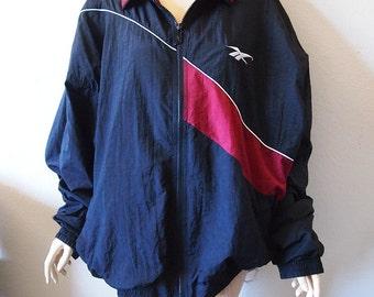 REEBOK // Vintage 90s Retro Windbreaker Unisex 2XL 3XL Black 1990s Bomber Jacket Hip Hop Clothing Athleisure Jacket Nike Adidas Plus Size