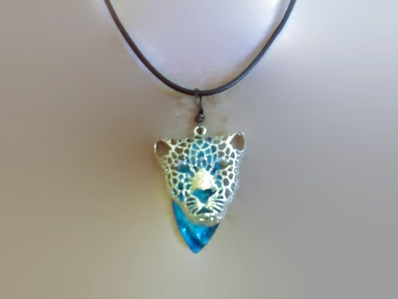 Jaguar Pendant with Blue Leaf Dangle and Leather Cord Necklace Unisex Summer Fashion Beach Wedding Mom Sister Friend Big Cat Lover Rustic