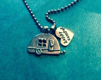 Vintage camper charm necklace