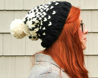 Knit Ombre Fair Isle Pom Pom Slouchy Beanie Hat - Black and Cream