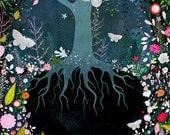 Woodland art, forest art, magical forest, magical art, fairytale art, botanical art, owl art, moth art, wall art, floral art, watercolor,
