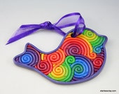 Bird Ornament in Rainbow Fimo Filigree
