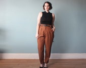 plus size pants / high waisted plus size rust trousers / 1980s / XL - XXL