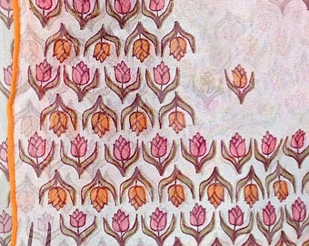 Vera Neumann tulips in the spring! Vera square scarf, orange and pink tulips, vintage scarf, ladies accessories, Mother's day, Vera scarf