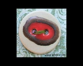 Handmade Ceramic Button: Hot Red and Metallic Gold on Bare Cream Porcelain