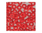 Czech Glass O Beads 3.8mm Disc Bead 38323 8.1gr, Opaque Red, 1.3mm Hole, Czech Pressed Glass, Small Disk Beads, Rondelle Bead