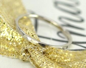 Skinny 14K Palladium White Gold 1mm Ring, Hammered Texture, Sea Babe Jewelry