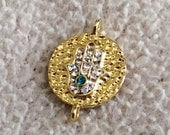 1 pc- Matte Gold Plated  Hand of Hamsa  with Swarovski rhinestone connector-20x14mm
