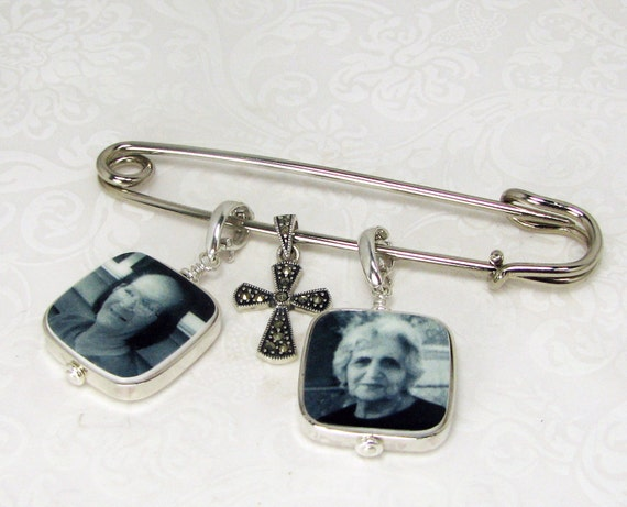 Two Sterling Framed Photo Charms on a Boutonniere / Corsage Pin - FBPP3Flx2a