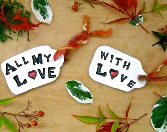 ALL My LOVE Gift Tags Tree Ornaments - HandMade Whimsical Black White Red Hearts, Lovers Soul Mates BFF 8th 9th Wedding Holiday Anniversary