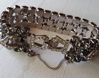 Weiss Bracelet with safety catch Smokey Brown and Crystal Rhinestones