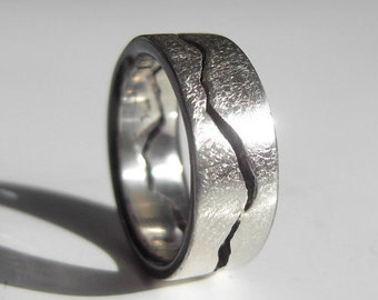 Storm Mountain Ring, 8mm band, Handmade with your choice of Silver, Palladium, Gold or Platinum, Ski, Snowboard, Mountain Wedding Band