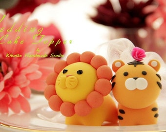 lion and tiger Wedding Cake Topper---k760