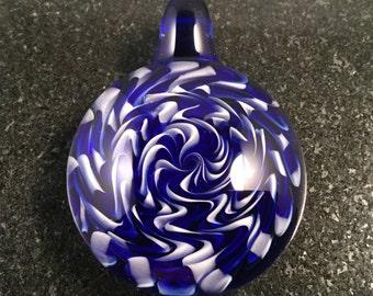 Glass Wigwag Implosion Pendant Bead --- Majestic Glass Arts ---