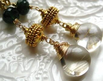 Golden Rutilated Quartz earrings linear gemstone earrings