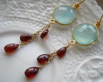 Seafoam ChalcedonyTassel earrings