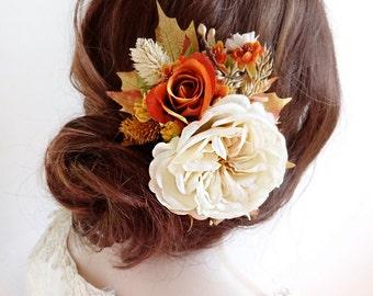 bridal hair piece, fall hair clip, fall hair accessories, burnt orange wedding, floral hair comb, autumn wedding, ivory flower hair clip