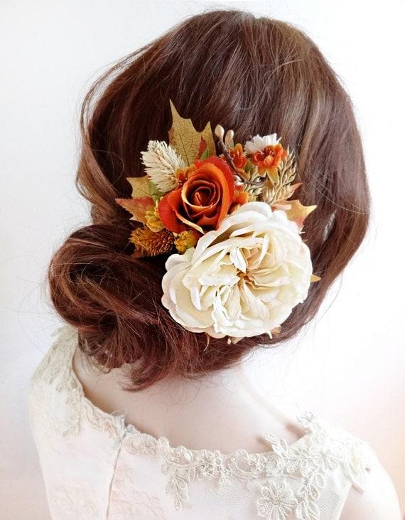 burnt orange wedding, floral hair comb