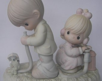 """Precious Moments """"There Shall Be Showers of Blessings"""" Porcelain Figurine - Enesco - Vintage Collectible - 1989 - Retired - Fire Hydrant"""