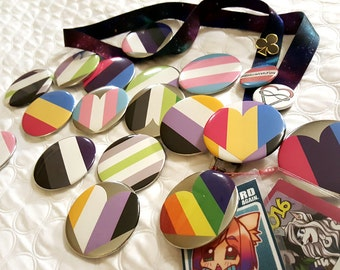 Double Flag PRIDE Button Pins