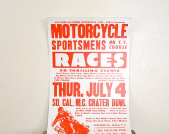 "1970's Original ""Motorcycle Races"" Heavystock Poster"