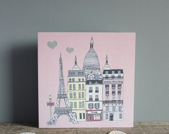 Paris Greetings Card - Wedding Card -  Paris Anniversary Card - Engagement Card