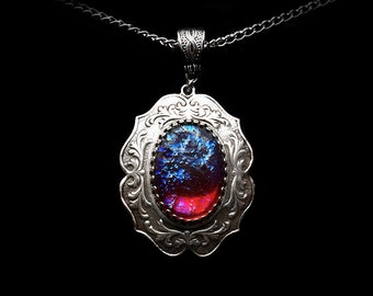 Silver Fire Opal Necklace - Dragon's Breath Necklace - Mexican Fire Opal - Victorian Jewelry - Gothic Jewelry