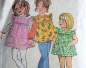 Vintage 70's Simplicity 5479 Sewing Pattern, Child's Smock-Dress or Top and Blouse, Size 5, Retro Pattern