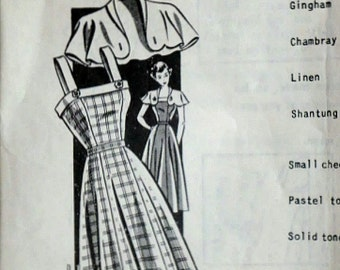 Vintage 40's 8467 Mail Order Sewing Pattern, Misses' Sundress With Button On Cape, Size 12, 30 Bust, 1940's Spring/Summer Fashion