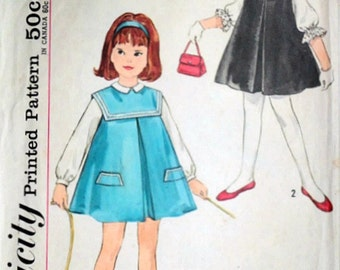 Vintage 60's Simplicity 4568 Sewing Pattern, Child's Jumper and Blouses, Size 2