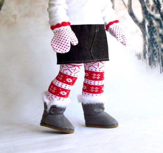 18 inch Doll Clothes, Red Nordic Knit Doll Socks and Mittens Gift Set, Winter Doll Socks